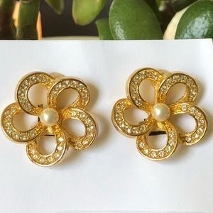 Christian Dior Gold, Crystal & Pearl Clip Earrings